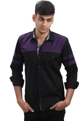 Fashion Bean Men's Solid Casual Black, Purple Shirt