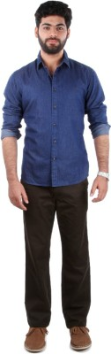 Indian Terrain Men's Solid Casual Blue Shirt