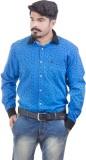 Lujo Diseno Men's Printed Casual Blue Sh...