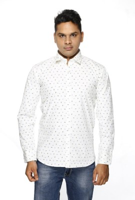 ALBI NYC Men's Printed Casual White Shirt