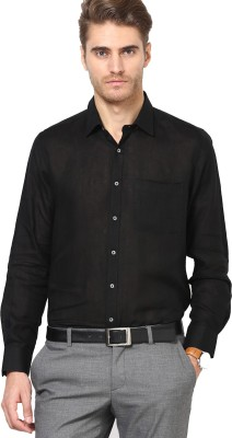 Ethiculture Men,s Solid Formal Black Shirt