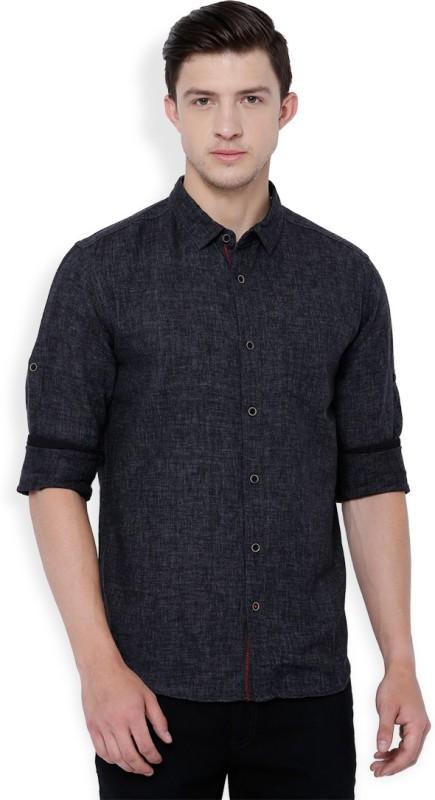 Locomotive Men's Solid Casual Grey Shirt