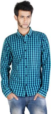 Corpus Men's Checkered Casual Blue, Light Green Shirt