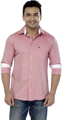 Jazzup Men's Striped Casual Pink Shirt