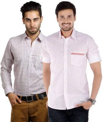 S9 Men's Printed Formal White, Maroon, White, Red Shirt