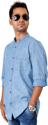 Passion Men's Solid Casual Blue Shirt