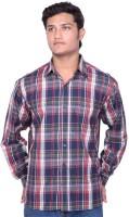 Indian Karma Formal Shirts (Men's) - Indian Karma Men's Checkered Formal Red Shirt