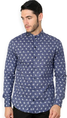 Blackbuk India Men's Printed Casual Blue Shirt