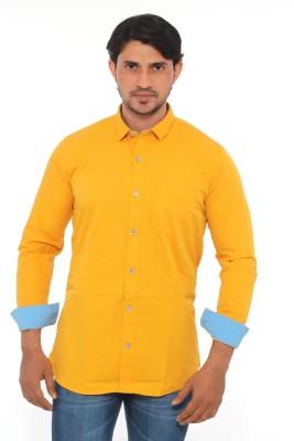 Mabho Men's Solid Casual Yellow Shirt