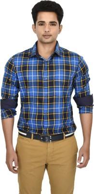 Hackensack Men's Checkered Casual Blue Shirt
