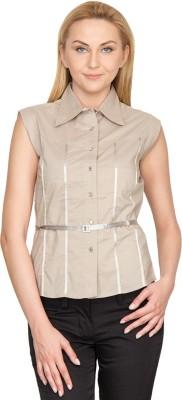 Species Women,s Solid Formal Brown Shirt