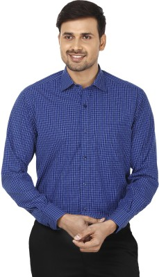 Wills Lifestyle Men's Checkered Formal Dark Blue Shirt