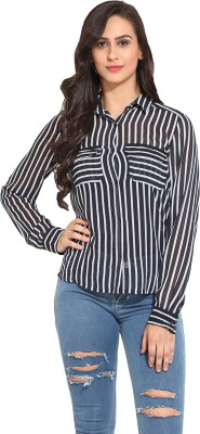 Ama Bella Women's Striped Casual Blue, White Shirt