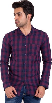 LIME TIME Men's Checkered Casual Purple Shirt