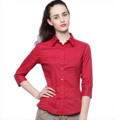 American Swan Women's Solid Casual Red Shirt