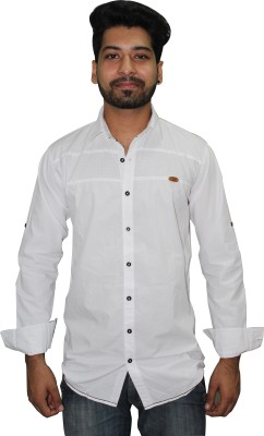 Ycan Men,s Self Design Casual White Shirt