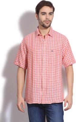 Arrow Sports Men's Checkered Casual Orange Shirt