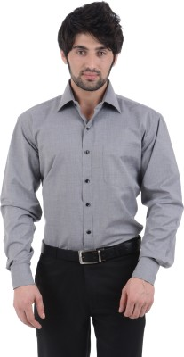 Burdy Men's Solid Formal Grey Shirt