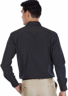 Provogue Men's Striped Formal Black Shirt