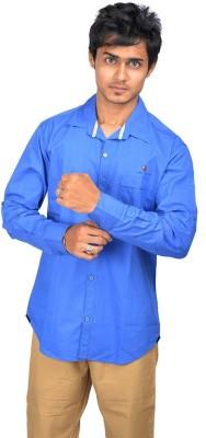 VDE Men's Solid Formal Blue Shirt