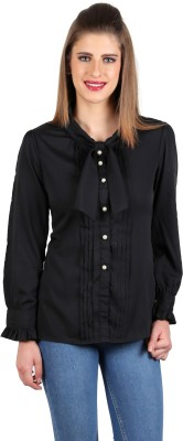 Eyelet Women's Solid Casual Black Shirt