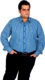 XMEX Men's Checkered Formal Blue Shirt