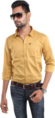 Beyond Imagination Men's Solid Casual Yellow Shirt