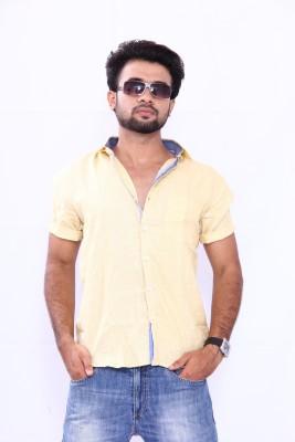 Bleu Men's Solid Formal Linen Yellow Shirt