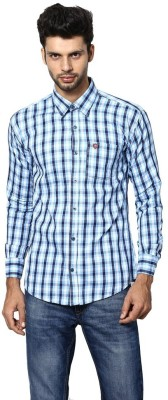 Saffire Men,s Checkered Formal, Casual Blue Shirt