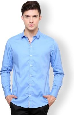Blackbuk India Men's Solid Casual Blue Shirt