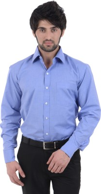 Burdy Men's Solid Formal Blue Shirt