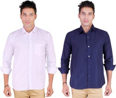 Yuva Men's Solid Casual White, Dark Blue Shirt
