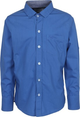 Mash Up Boy's Solid Casual Blue Shirt