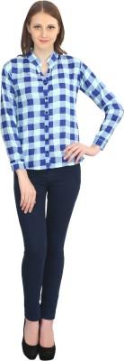 kellan Women's Checkered Casual Blue Shirt