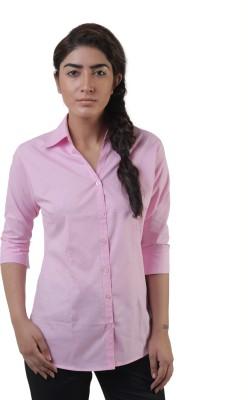 Lee Marc Women's Solid Formal Pink Shirt