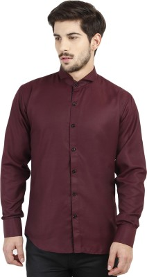 Marcello And Ferri Men's Solid Casual Reversible Maroon Shirt