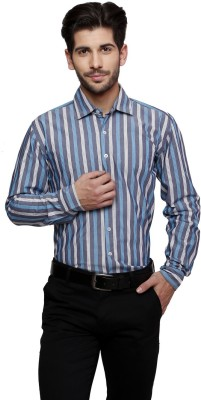 Thousand Shades Men's Striped Formal Grey Shirt