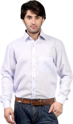 Hugo Chavez Men's Solid Formal Linen Blue Shirt