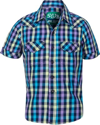 Slub Junior By Inmark Boy's Checkered Casual Blue Shirt