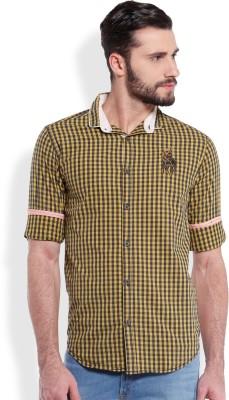 Skie Studio Men's Checkered Casual Yellow Shirt