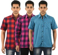Five On Five Formal Shirts (Men's) - Five on Five Men's Checkered Formal Multicolor Shirt(Pack of 3)