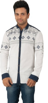 Zed One Men's Printed Casual White Shirt