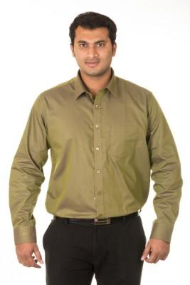 West Vogue Men's Solid Formal Green Shirt