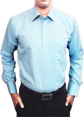 Shine Shirts Men's Striped Formal Light Blue Shirt
