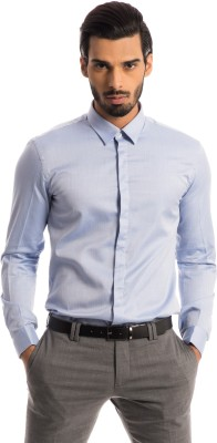 Specimen Men,s Harringbone Formal Blue Shirt