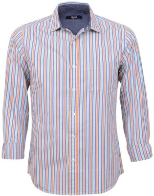 Legato Men's Striped Wedding, Casual, Party, Formal Green, Blue, Orange, White Shirt