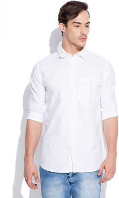 Silly People Men's Solid Casual White Shirt
