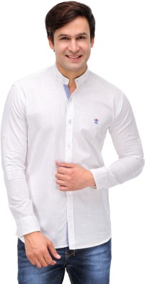 Finder Zone Men's Solid Casual Linen White Shirt