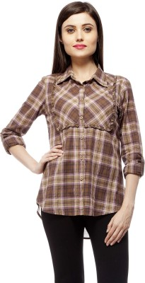 Stylestone Women's Checkered Casual Brown Shirt