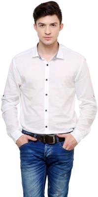 Azo Men's Solid Casual White Shirt